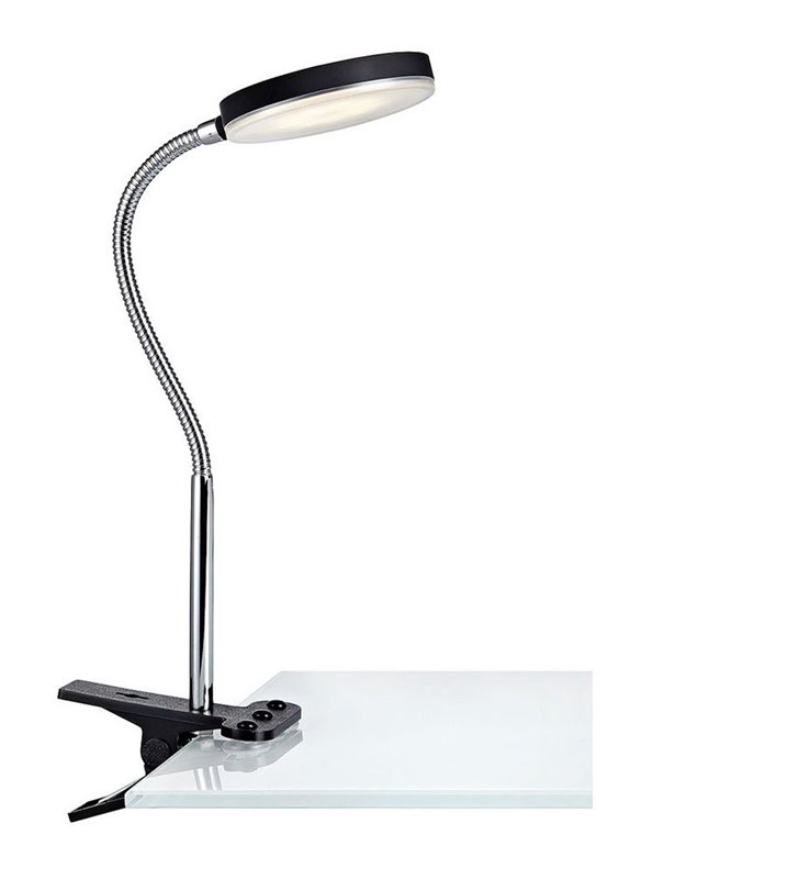 Lampa biurkowa Flex LED czarna z klipseme i giętkim ramieniem