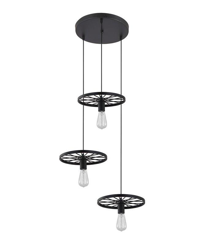 Lampa wisząca Federico potrójna czarna w stylu industrialnym vintage loftowym