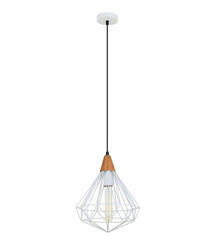 Druciana biała lampa wisząca Maelle White w stylu vintage loftowym nad stół do salonu sypialni kuchni