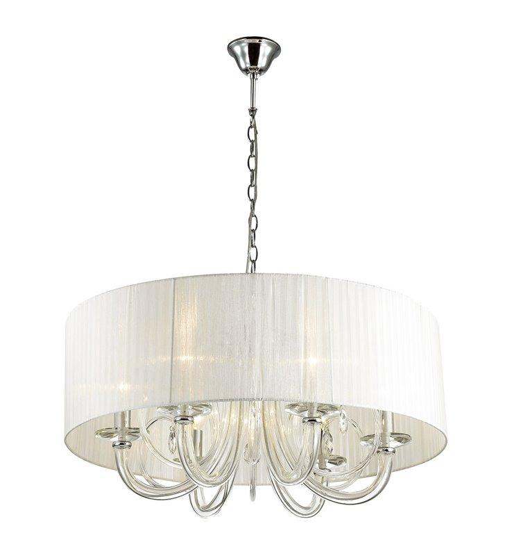 Żyrandol Mulber 6 punktowy świecznikowy z białym abażurem elegancki stylowy do salonu sypialni nad stół do jadalni - OD RĘKI