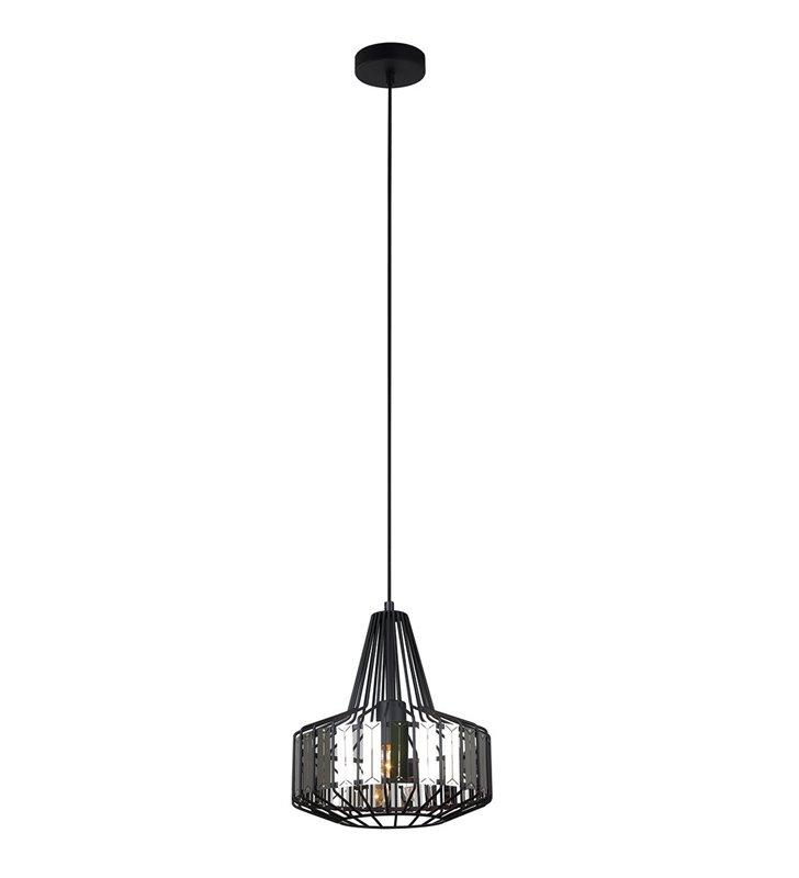 Lampa wisząca Valglo czarna druciana zdobiona podłużnymi blaszkami