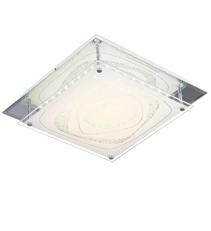 Kwadratowy plafon Verso 260 LED ze zdobionym szklanym kloszem