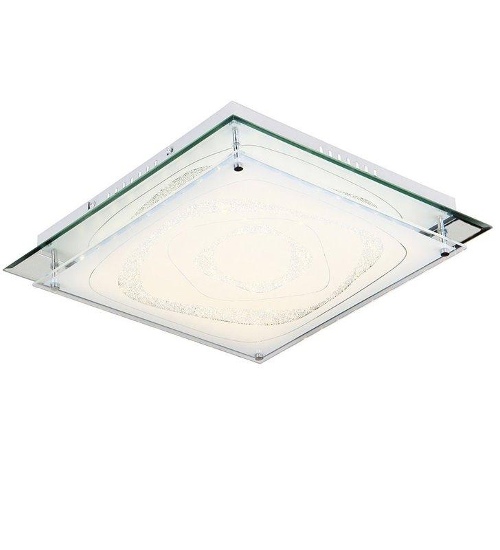 Kwadratowy plafon Verso 430 LED ze zdobionym kryształkami szklanym kloszem