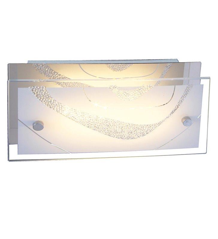 Kinkiet Verso prostokątny szklany zdobiony małymi kryształkami