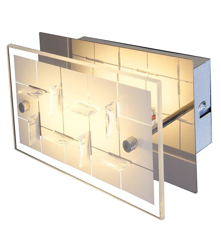 Kinkiet Zeltum LED prostokątny klosz szklany zdobiony kryształkami