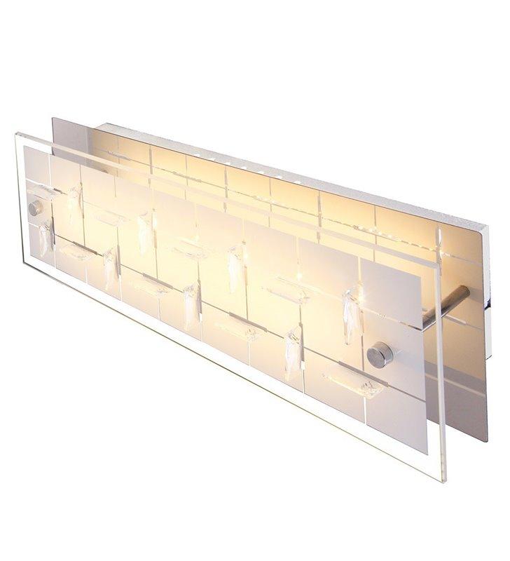 Kinkiet Zeltum LED prostokątny szklany klosz ozdobiony kryształkami