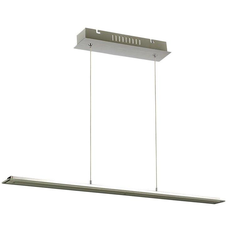 Lampa wisząca Jonas podłużna nowoczesna w kolorze aluminium nad stół wyspę kuchenną do salonu kuchni jadalni