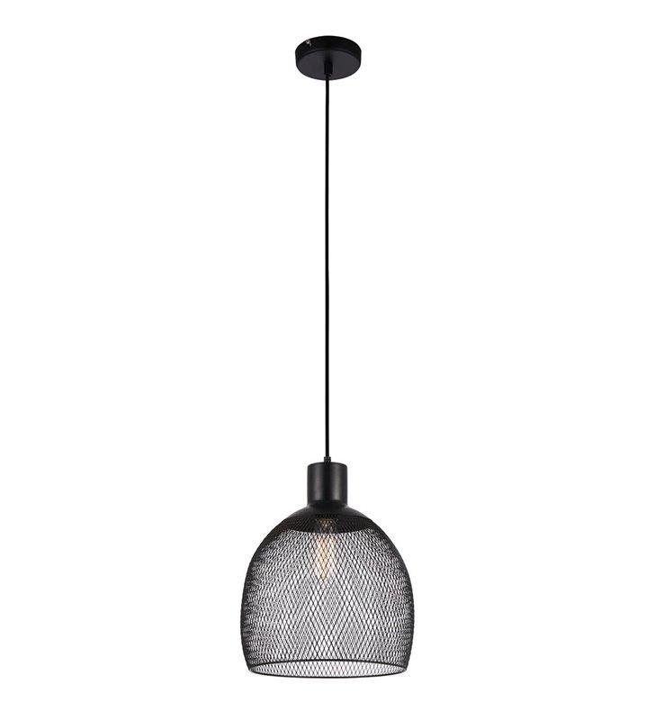 Czarna lampa wisząca Julienne metalowa siatka