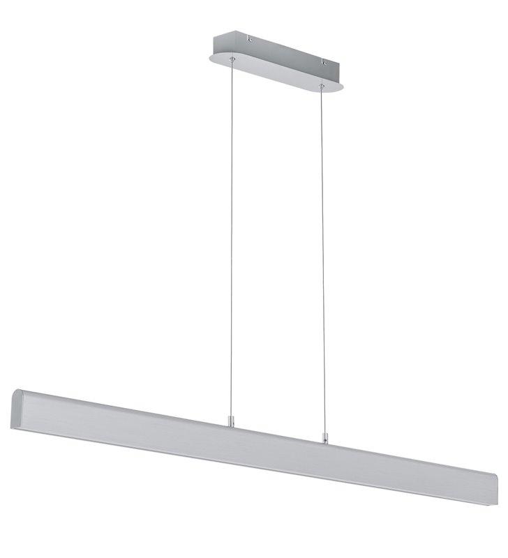 Podłużna wąska lampa wisząca Lemo LED nowoczesna w kolorze aluminium do biura salonu jadalni kuchni nad stół wyspę kuchenną
