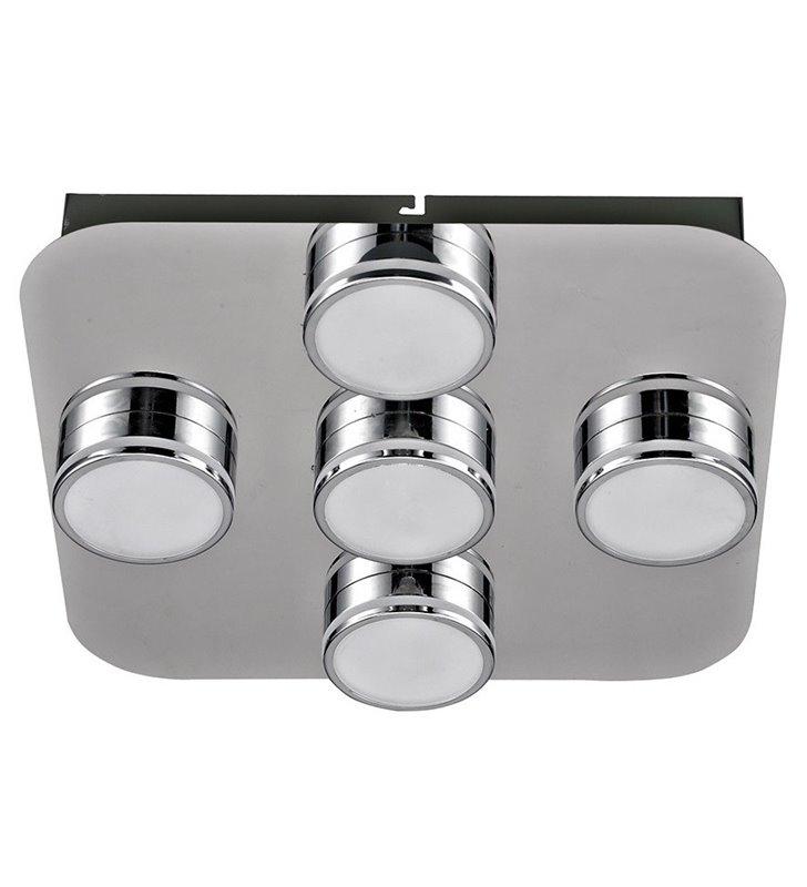 Plafon Marcel 320 LED chrom kwadratowy nowoczesny 5 punktowy do sypialni salonu przedpokoju