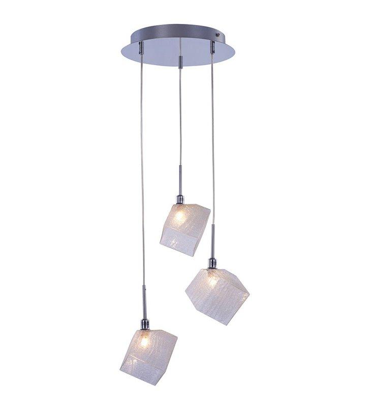Lampa wisząca potrójna na okrągłej podsufitce Zen klosze szklane do salonu sypialni kuchni jadalni nad stół