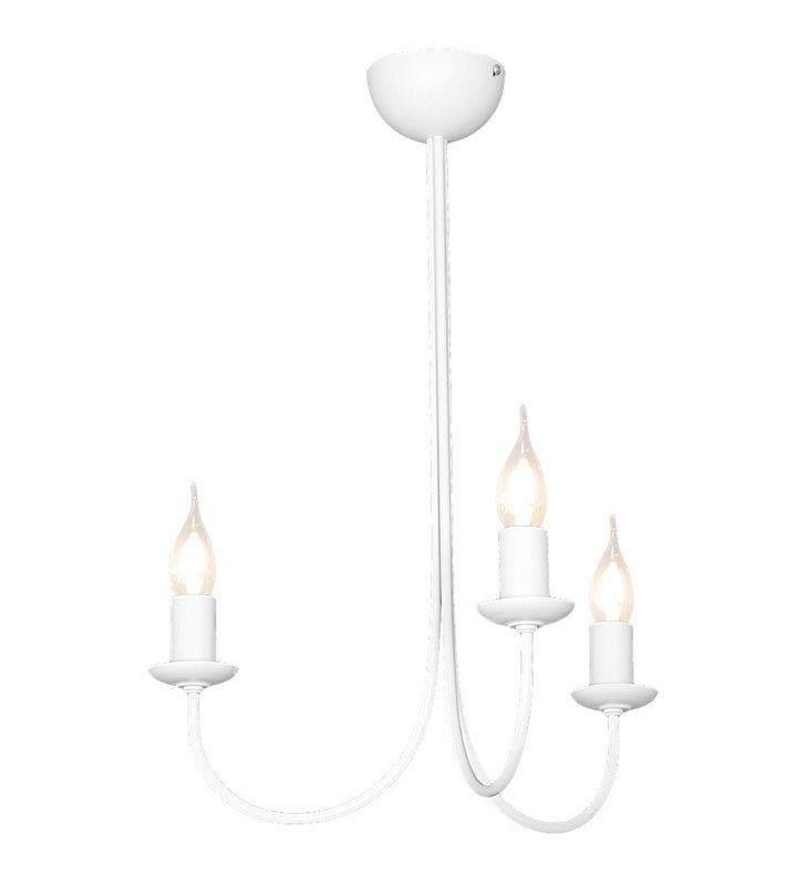 Żyrandol Feb biały 3 płomienny świecznikowy bez łańcucha