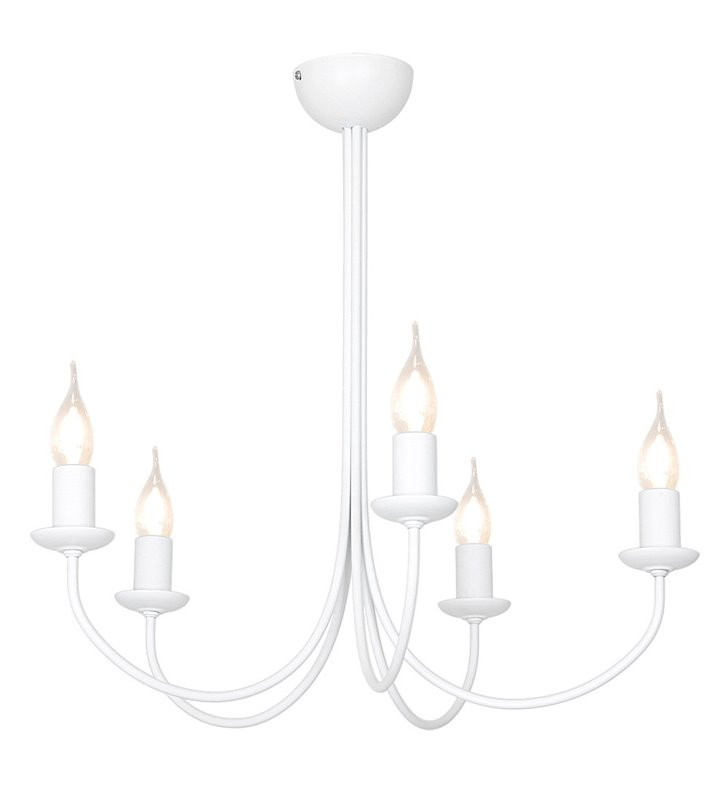 Żyrandol Feb biały 5 ramienny świecznikowy bez łańcucha