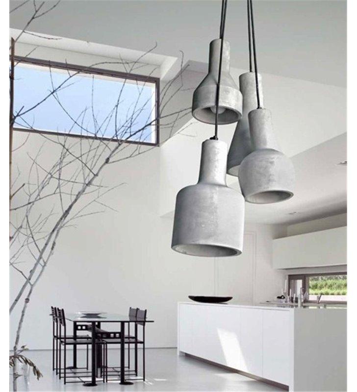 Lampa wisząca Karina 4 punktowa w stylu loftowym z betonu architektonicznego do salonu sypialni jadalni kuchni nad stół