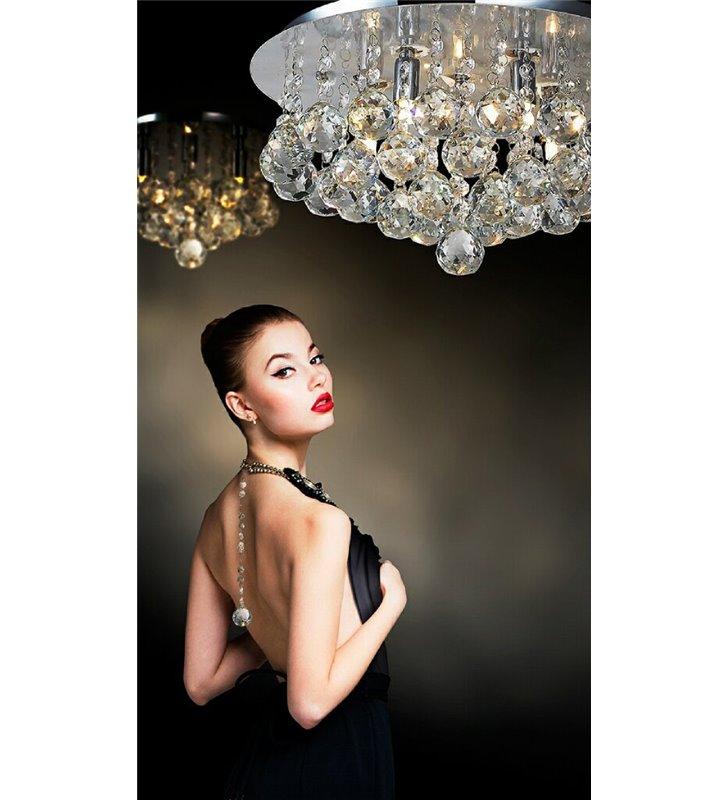 Plafon Bolla 48cm okrągły kryształowy stylowy do salonu sypialni jadalni na korytarz