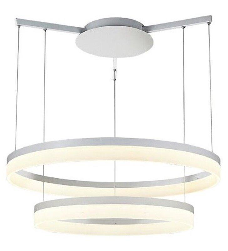 Zola biała nowoczesna lampa wisząca dwie LEDowe obręcze