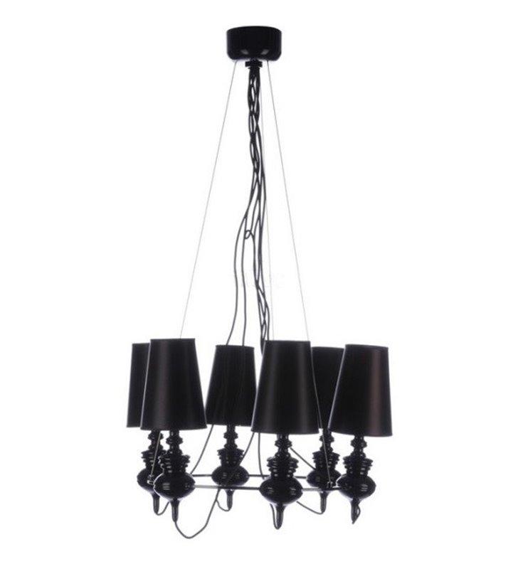 Żyrandol Baroco czarny nowoczesny w stylu glamour 6 punktowy duży długi zwis do salonu sypialni jadalni nad stół