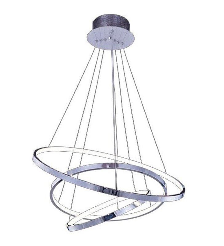 Lampa wisząca Wheel chrom nowoczesna LED obręcze możliwość ściemniania