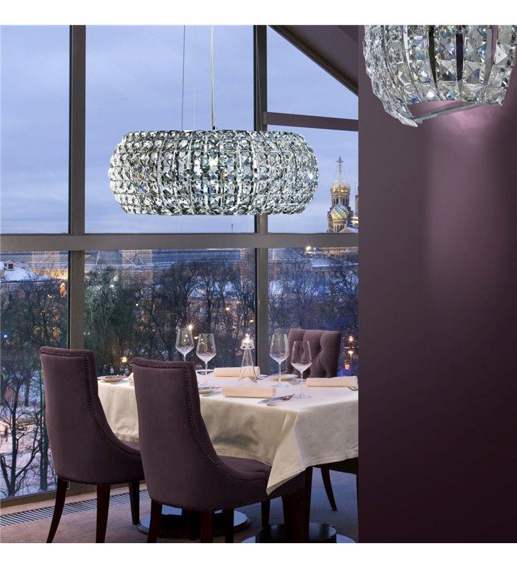 Lampa wisząca Sophia kryształowa okrągła do sypialni salonu jadalni nad stół
