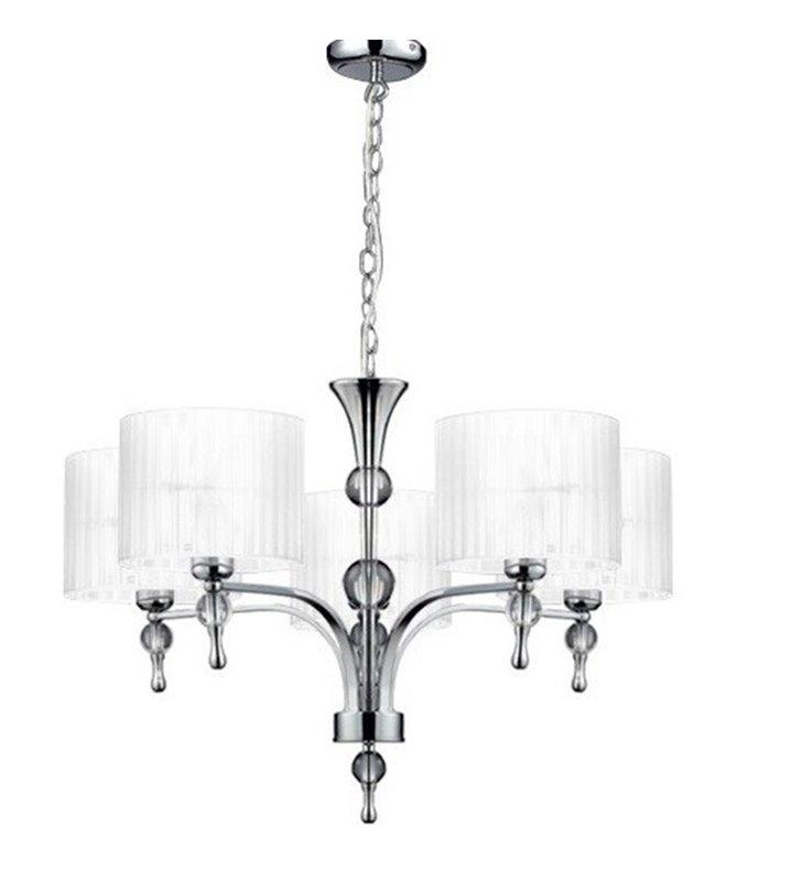 Żyrandol Impress białe abażury 5 ramienny elegancki do salonu sypialni jadalni