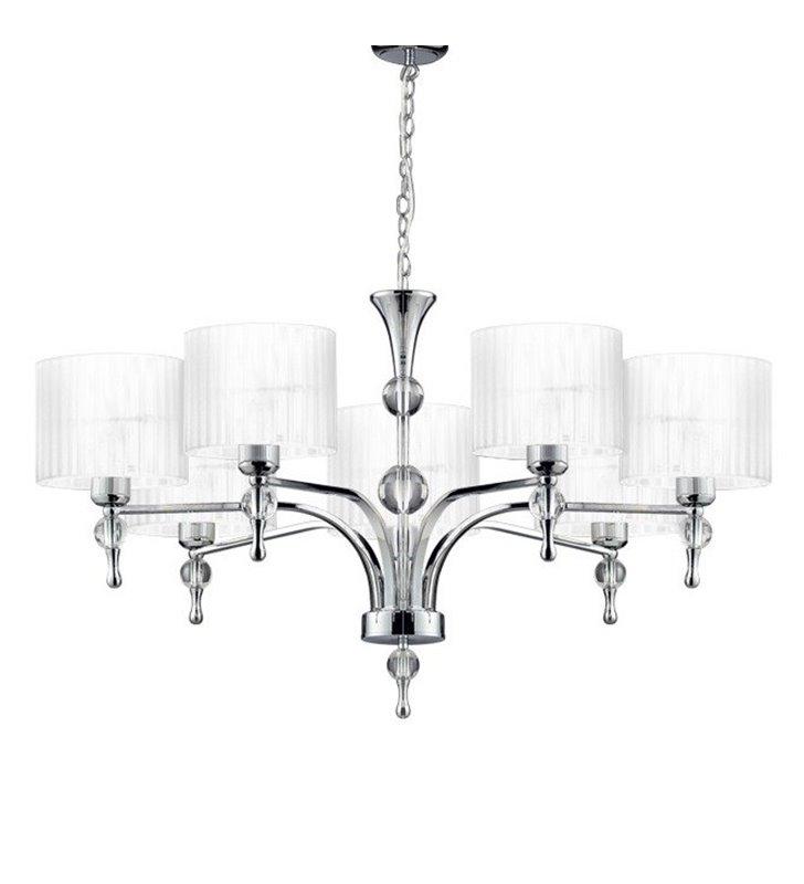Elegancki biały żyrandol Impress abażur 7 ramienny do salonu sypialni jadalni