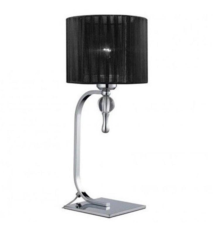 Lampa stołowa Impress czarna z abażurem do sypialni salonu na komodę stolik nocny