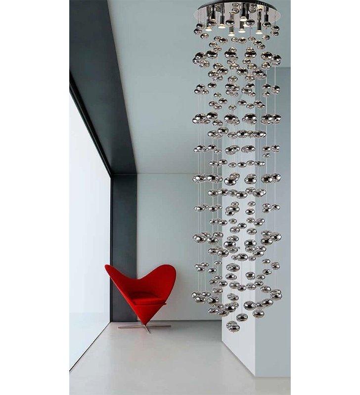 Nowoczesna dekoracyjna lampa wisząca Luvia długa 2,2m szklane chromowane bańki