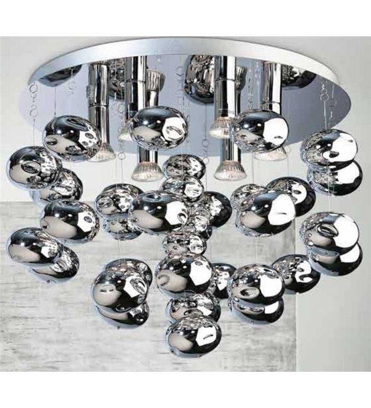 Plafon ze zwisającymi szklanymi bańkami Luvia 490 do salonu sypialni przedpokoju