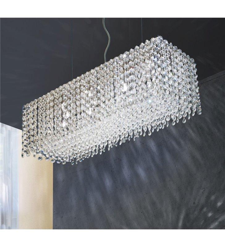 Prostokątna kryształowa lampa wisząca Roma do sypialni salonu jadalni nad stół