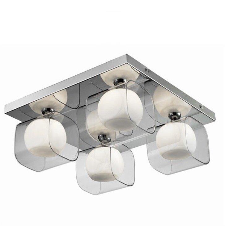 Happy 4 punktowy z podwójnymi szklanymi kloszami plafon kwadratowa lampa sufitowa do salonu sypialni przedpokoju holu