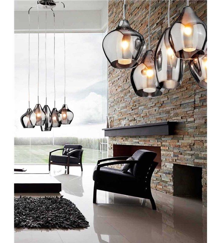 Lampa wisząca Amber Milano 5 punktowa różne kształty szklanych kloszy