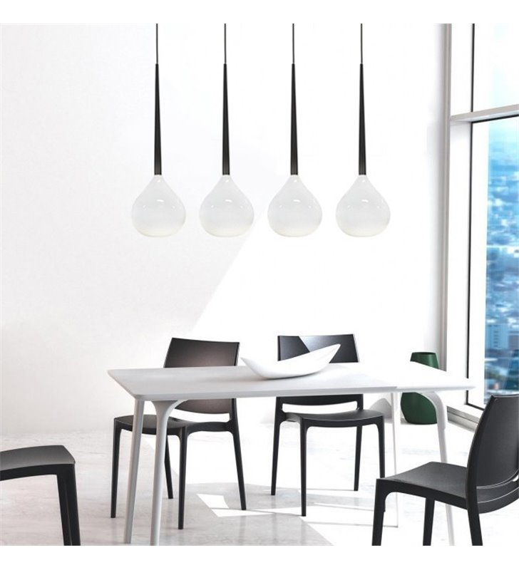 4 zwisowa lampa wisząca Aga biało czarna idealna do jadalni nad stół do kuchni nad wyspę kuchenną do sypialni salonu