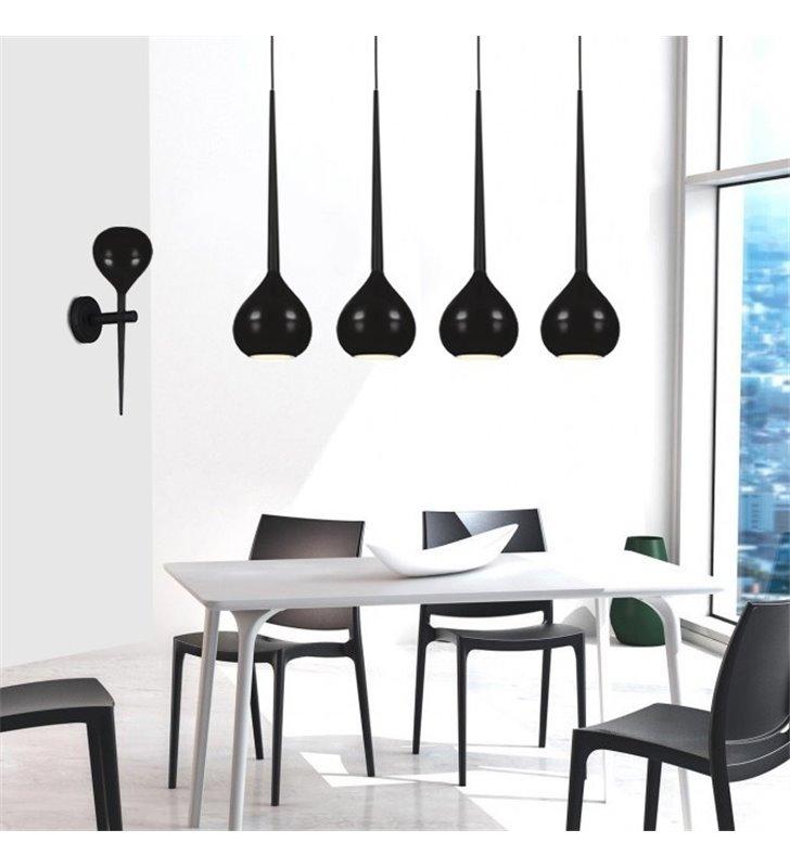 Czarna lampa zwisająca Aga 4 płomienna szklane pękate klosze do kuchni jadalni nad stół wyspę kuchenną do sypialni salonu