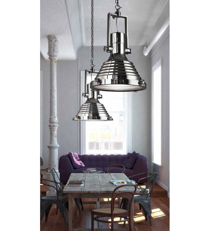 Lampa wisząca w stylu marynistycznym Marina chrom metalowa ze szklaną przesłoną łańcuch długi zwis