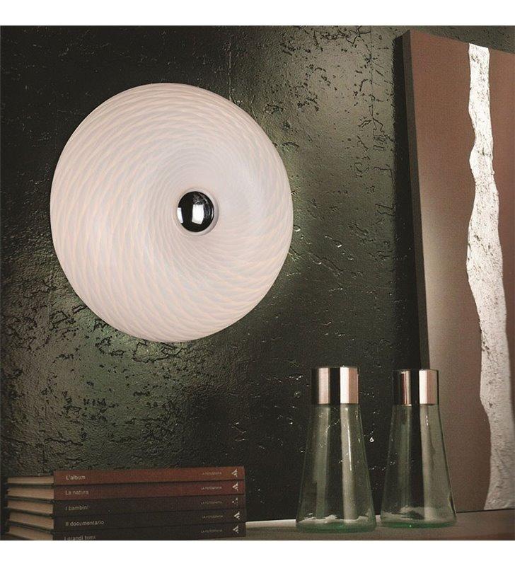 Scale lampa ścienna plafon ścienny biały szklany okrągły