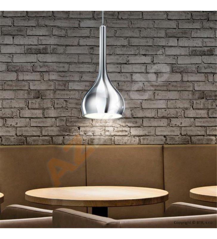 Lampa wisząca Soul chromowana z pękatym kloszem pojedyncza nad stół wyspę kuchenną do kuchni jadalni sypialni salonu