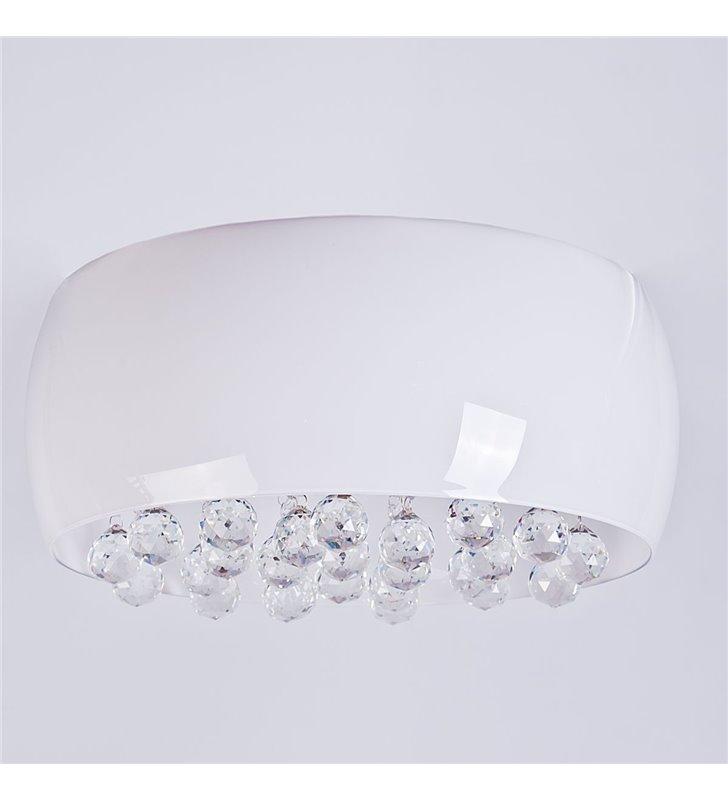 Lampa Wisząca Quince Biały Szklany Klosz Z Kryształkami W