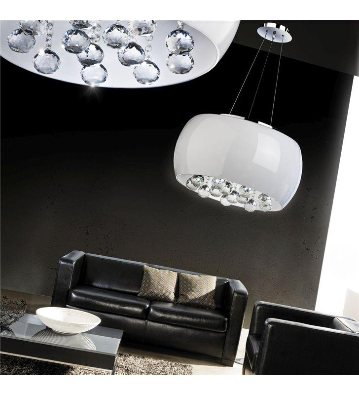 Lampa wisząca Quince biały szklany klosz z kryształkami w stylu glamour