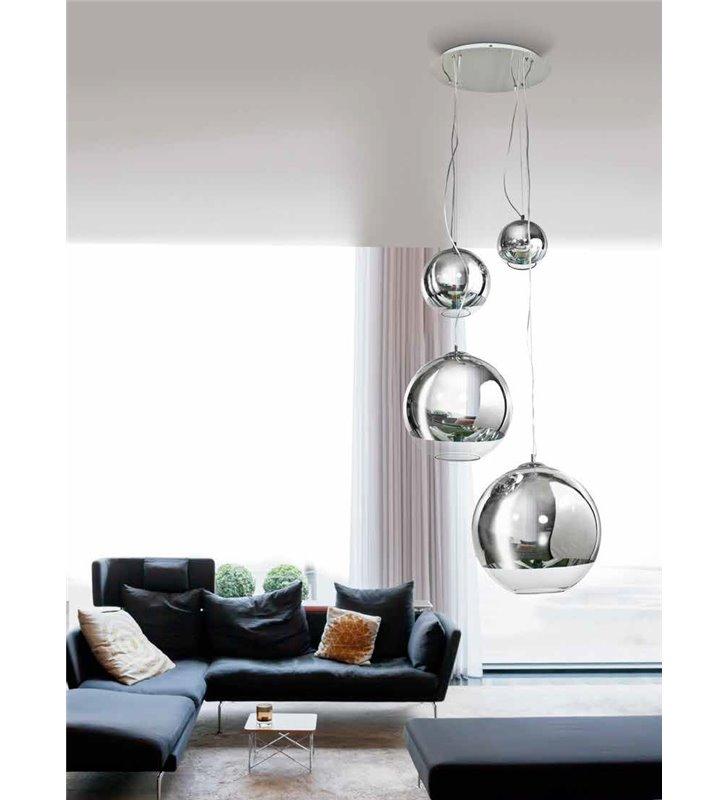 Lampa wisząca Silver Ball długa 4 szklane kule na okrągłej podsufitce do salonu sypialni jadalni kuchni nad stół schody