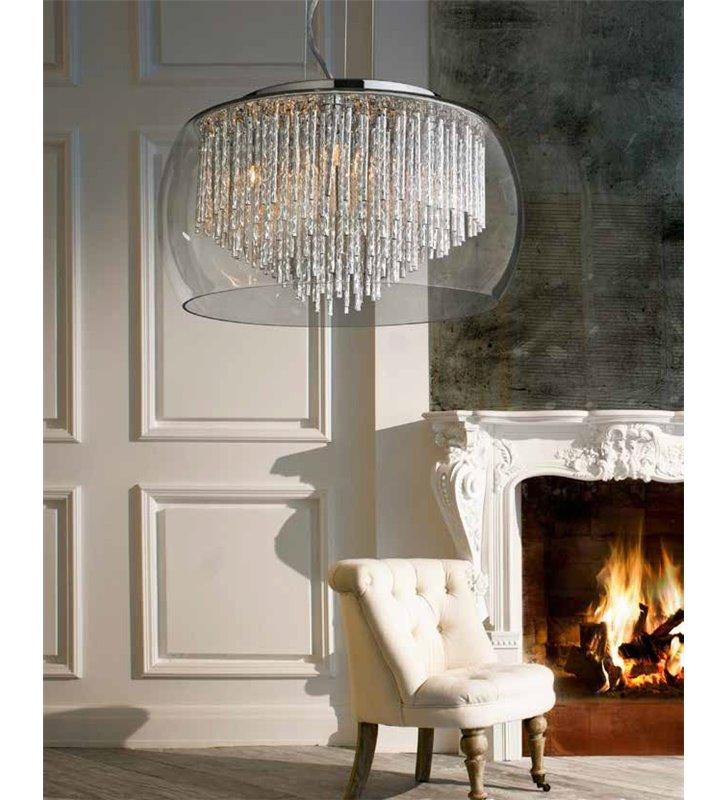 Lampa wisząca Rego szklany bezbarwny klosz wewnątrz metalowe pręciki w kolorze aluminium elegancka do salonu sypialni jadalni