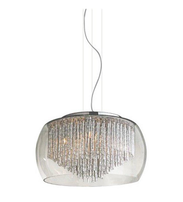 Rego elegancka lampa wisząca klosz szklany bezbarwny z aluminiowymi pręcikami wewnątrz do sypialni salonu jadalni