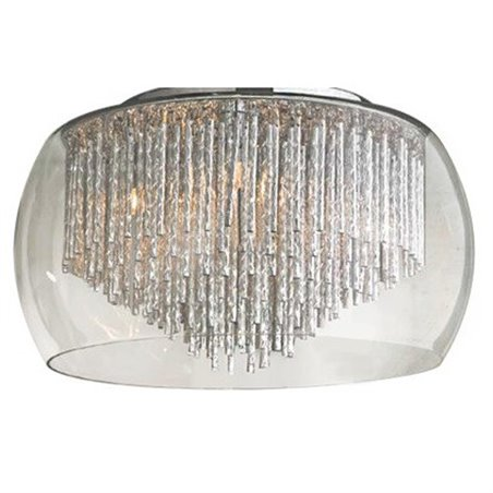 Plafon Rego 500 szklany bezbarwny klosz z metalowymi pręcikami w kolorze aluminium do salonu sypialni na korytarz przedpokój hol