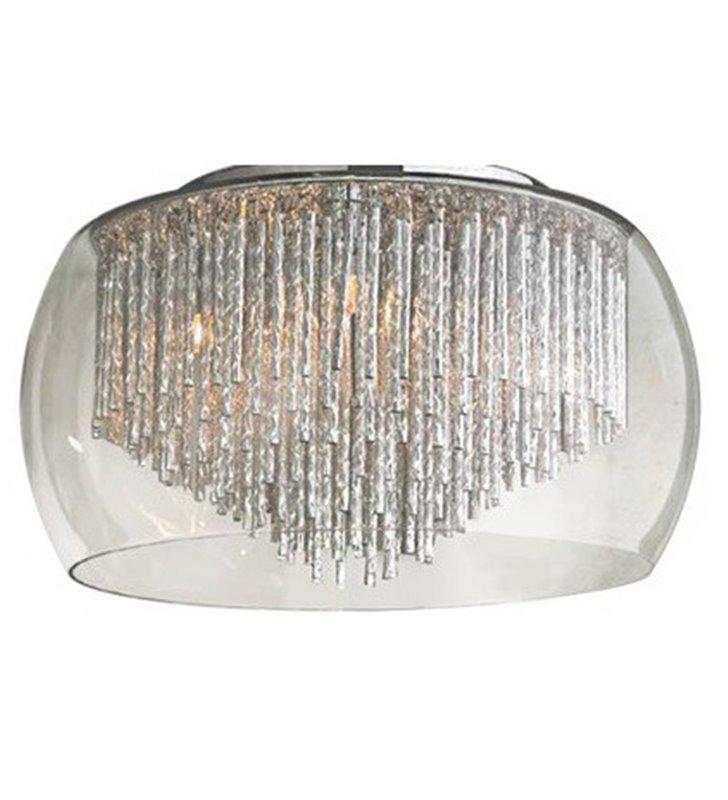 Plafon Rego 400 szklany bezbarwny klosz z metalowymi pręcikami w kolorze aluminium do sypialni salonu na przedpokój korytarz hol