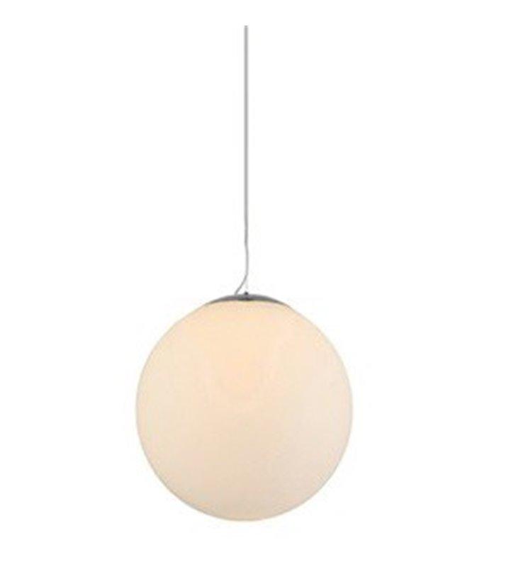 Lampa wisząca White Ball 25 mała szklana biała kula długi zwis