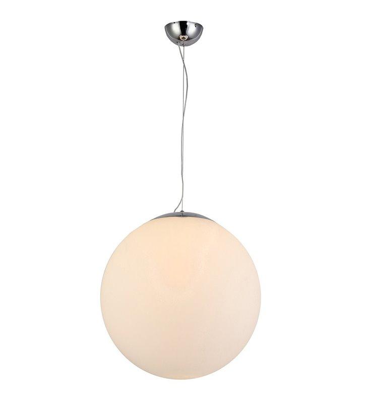 Biała szklana kula White Ball 50 lampa wisząca na długim zwisie do salonu jadalni sypialni kuchni