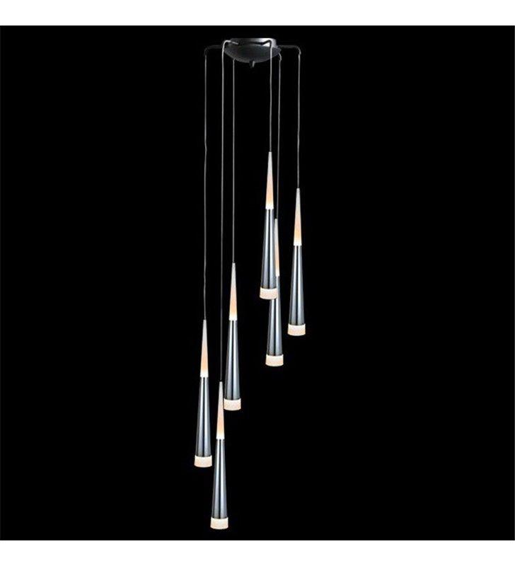 Lampa wisząca Brina 6 płomienna spirala klosze wąskie chromowane z białym wykończeniem nad schody stół