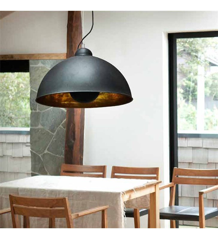 Metalowa czarna lampa wisząca ze złotym środkiem Toma w stylu loftowym industrialnym
