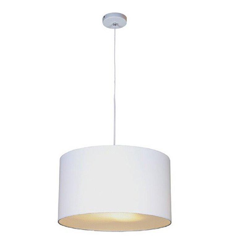 Lampa wisząca Bosse biała abażur materiałowy z akrylową przesłoną  do salonu sypialni jadalni kuchni