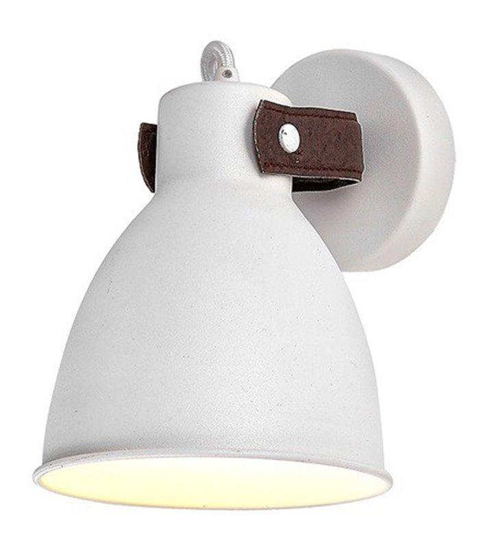 Kinkiet Tessio biały nowoczesny z elementem skórzanym do salonu sypialni przedpokoju holu