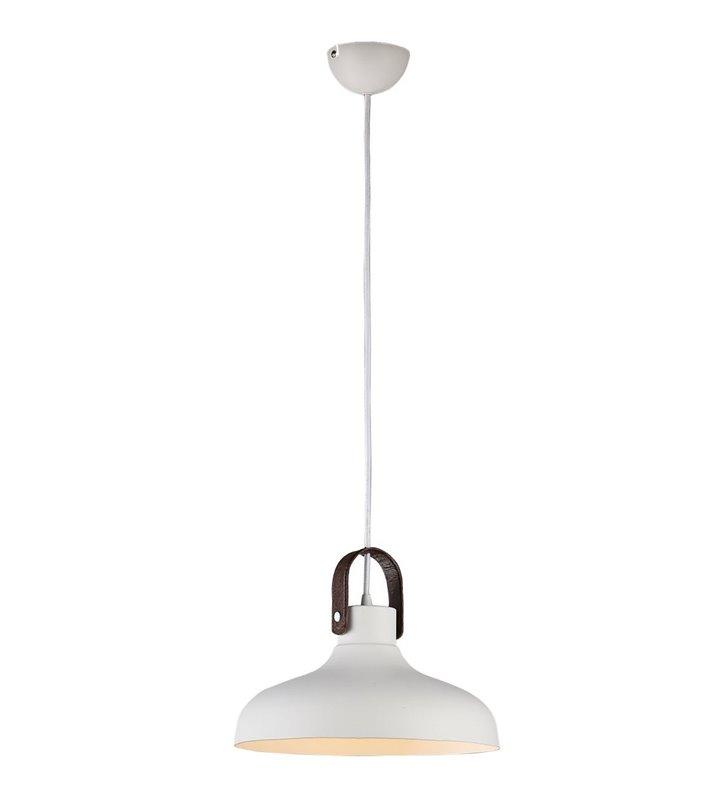 Biała metalowa lampa wisząca ze skórzanym brązowym elementem Tessio do kuchni jadalni nad stół salonu sypialni